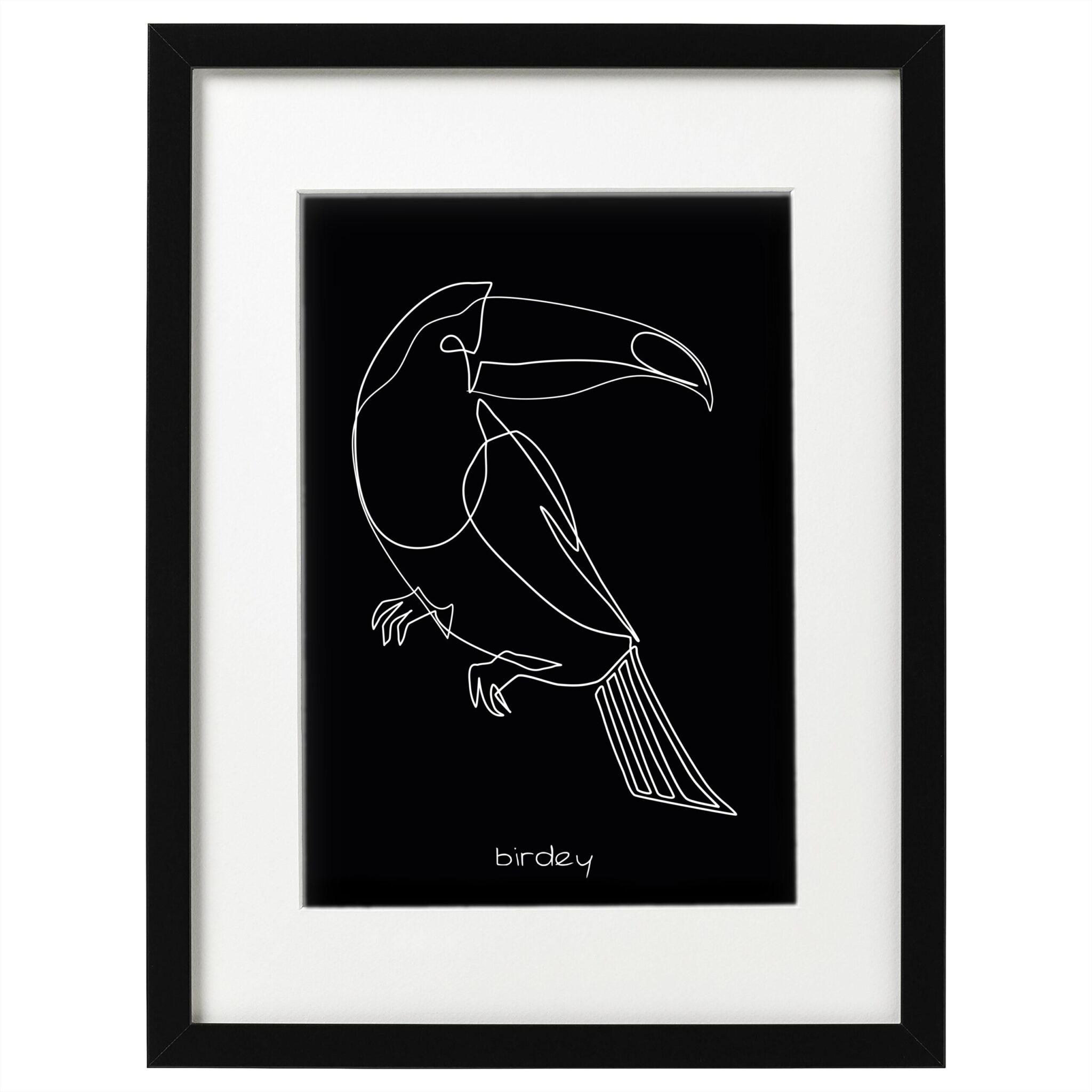 Image of art poster birdey - Schwarz - mit Text